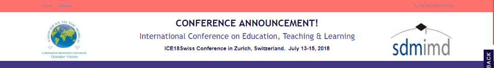 ICE18Swiss International Conference on Education, Teaching & Learning: Zürich, Switzerland, 13-15 July 2018